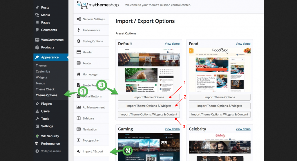 Import Demo MyThemeShop