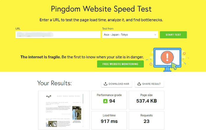 pingdom test